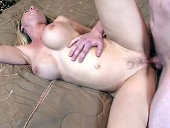 A fuckin' slutty ass bitch sucks on a hard cock and then takes it balls deep into her fuckin' gash, check it out right here, it's hot as fuck!