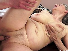 Long-haired granny Aliz shows her cunt to a man and lets him lick it. After that they bang in then cowgirl and other positions.
