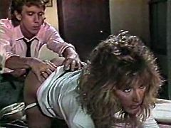 Light haired dirty cougar with big breasts pleased her thirsting fellow with stout BJ in 69 pose right at his working place. Look at that dirty bitch in The Classic Porn sex clip!