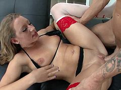 Blonde milf Lizzy London, wearing stockings and lingerie, drives a dude crazy with a deepthroat blowjob. Then they fuck doggy style and Lizzy gets loads of cum on her natural tits.