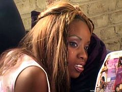 A few ebony chicks are having fun with a black dude. Watch this backstage clip to see hot blowjobs and ardent banging in the cowgirl and the missionary positions.