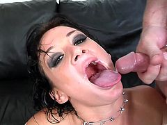 The gorgeous brunette Tory Lane enjoys getting both of her filthy holes fucked at the same time and ends up getting a big cumshot in her mouth.