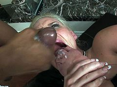 Interracial anal sex leaves Phoenix Marie with a mouthful of semen