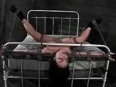 Mahina Zaltana is tied up to a bed with her legs spread. Her master goes from pussy to mouth, fucking her until exhaustion and putting her through multiple orgasms.