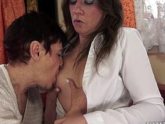 Short-haired busty strumpet starts kissing with long-haired skank and lets her kiss her big natural boobs. Thereafter sluts lick and finger each other's hairy twats.