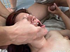 Kinky redhead slut Yena is trying hard to please three men. She favours the dudes with deepthroat blowjobs and lets them pound her twat, mouth and asshole at the same time.