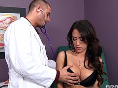 A vivacious young brunette with long hair, big beautiful tits and a shaved pussy enjoys sucking her doctor's massive cock.