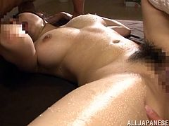 Press play on this hardcore scene and take a look at Akane Yoshinag's beautiful and large natural breasts as she's fucked by two guys in a threesome.
