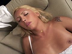 Lubricious blonde is ready for rough anal sex. She jerks off her big cock while hot tempered stud penetrates her anal cave missionary and doggy style.