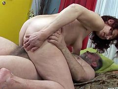 Insatiable granny provides man with blowjob and rides his dick in a cowgirl pose. Thereafter she gets her hairy snatch nailed in a sideways and missionary positions.