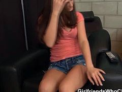 Lily Carter has to wait for her boyfriend, but she turns on the webcam and tries to make herself comfortable. She does that by stripping and rubbing her pussy.