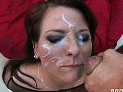 Casey Cumz gets her big round ass oiled up and drilled by a huge cock before she gets her pretty face covered with hot cum.
