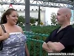 Elizabeth is a brunette BBW who wears a strapless top when this guy finds her. His purpose is to pick her up and bang her fat cunt until she can't take it anymore.