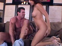Check out this hardcore scene where the horny Sativa Rose is eaten out by this guy before being fucked silly by him.