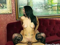 Pawn That Pussy brings you a hell of a free porn video where you can see how the spectacular brunette Mia Hurley rides a hard rod of meat into heaven for your enjoyment.