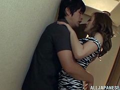 Check out this hardcore scene where the sexy Japanese babe Misa Kudou sucks on this guy's hard cock before being fucked by him in a hallway.