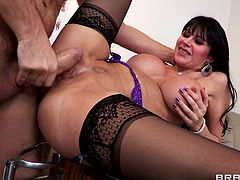 Watch this busty Eva Karera end up covered by warm semen in this hardcore scene where she's fucked silly by her gynecologist after taking off her clothes to get examined.