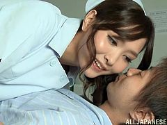 The gorgeous Japanese nurse Nono Mizusawa gives her lucky patient the sexiest blowjob and the nastiest footjob so she can get his steamy cum.