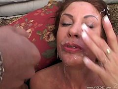 Busty svelte bitch gets her moist cooch screwed doggystyle and rides dick in a cowgirl pose while giving a head to other dudes. Then she gets plowed mish and buddies spray her face with gallon of jizz.