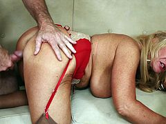 Light-haired skank sucks erected dick and gets her soaking quim poked mish. Then she rides cock in a cowgirl pose and gets doggyfucked until dude cums in her mouth.