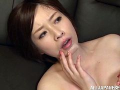 Hot Japanese milf shows her big natural tits to a man and lets him play with them. Then she gives a blowjob to the dude and they have some dirty doggy style banging.