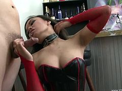 Dude, this insatiable raven-haired puss is cock addicted cuz she wanna suck it anytime! Watch how she provides man with hot blowjob until he cums in her mouth.
