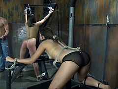 A sizzling tied up brunette gets her butt whipped in a basement. After that she shows her cock-sucking skills to the man and they have some naughty doggy style banging.