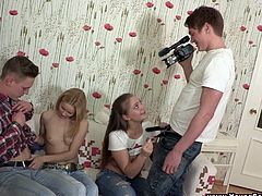 Witness this amateur video where two teens, with nice back doors wearing jeans, go hardcore with lusty boys in so many different positions.