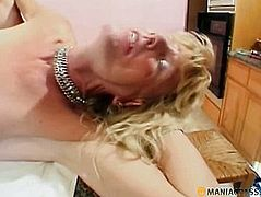 Heifer with a member betwixt the legs screwed in anal