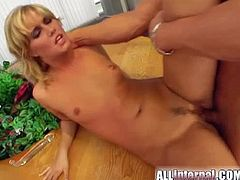Horny blonde Sarah B doesn't think she can take on a huge dick. She certainly can on her video, she just screams and utter dirty word because of the pleasure it brings.