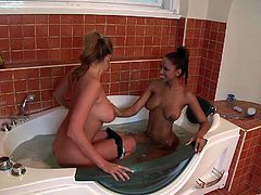Have fun with this hardcore scene where these horny babes end up covered by semen after being fucked by two large cocks in a foursome.