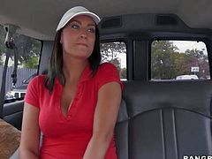 Tiffany Cane is a nice looking brunette with beautiful smile and amazing juicy tits. She removes her bra after interview and exposes her melons for money in this new Bang Bus episode.