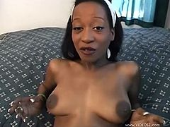 Fucktastic black skank with big natural boobs gets her tight trench banged mish and doggystyle in POV video. Thereafter she blows white dick and gets a mouthful of jizz.