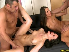 Beautiful long-haired brunette Adriana Brill and her hot GF are trying hard to please two dudes. The cuties favour the studs with blowjobs and let them drill their cunts in the cowgirl position.