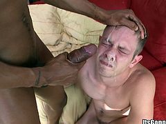 The hot stud Izzy gives Steve an amazing blowjob and takes his huge black cock up his tiny tight ass before he gets a big load of cum on his face.