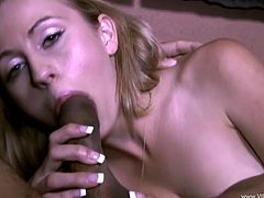 Salacious blonde Mae Meyers masturbates her coochie in the shower. Then she goes to the bedroom and plays dirty games with a black stud. She takes the dude's wang in her mouth and sucks it ardently.