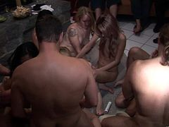 A sexy, young blonde with great tits and a shaved pussy enjoys a hardcore gangbang. Hear her scream with pleasure right now!