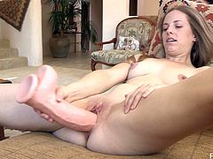 Elyse is feeling extremely excited as she is about to get a large fake cock shoved deep inside of her pulsating snatch. See her while she bounces on that toy like crazy.