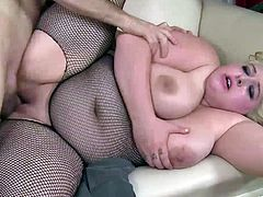 Stunning BBW girl with huge natural boobs provides man with terrific blowjob and rides his hard cock on top. Then she gets nailed in a sideways pose and doggystyle.