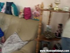Amateur and horny bbw slut seduced the tv repairman and decided to blow his cock a bit. She made it hard as a rock and takes it in her old fat horny cunt like a champ.