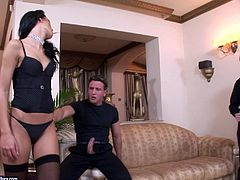 Take a look at this hardcore scene where the slutty brunette Suzie Diamond is nailed by fellas in a gangbang that leaves her out of breath.