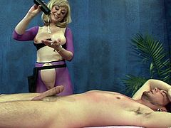 Curvaceous blonde MILF massages buddy and gives him amazing head. Then she bounces on his fat cock in a cowgirl pose before getting nailed doggystyle and mish.