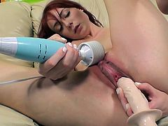 She starts out using her vibrator on her clit then this sexy redhead gets her sweet pussy pounded so hard she can't stop cumming.
