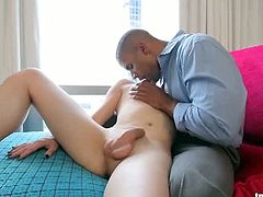 Nina Lawless has white, soft skin and an equally pleasant cock between her legs. This attractive black stud jerks her cock off before he pounds her butt crack.