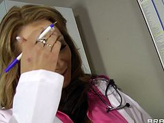 Buxom doctor Nikki Sexx gives her patient one hell of a blowjob