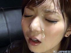 Asian slut is bukkaked in gangbang scene