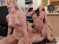 Romi Rain and Gigi Allens turn guy on to the point of no return with their hot bodies. Blonde and brunette both with nice big tits suck his dick like crazy and then get their pink slits fucked hard.