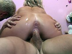 Two ravishing blonde lassies have mutual oral sex with two fuckers and get their snatches drilled mish. Then babes get plowed in a sideways pose and ride cocks on top.