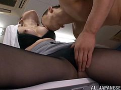 What are you waiting for? Watch this Asian brunette, with a nice ass wearing a miniskirt, while she goes hardcore with a co-worker.