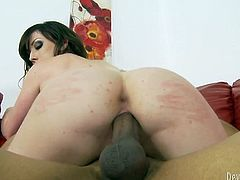 Dark haired seductive chick with sexy button used to ride hard dick of her brutal African fellow face to face. But they guy also likes mish pose fuck. Have a look at that steamy interracial fuck in Fame Digital porn video!